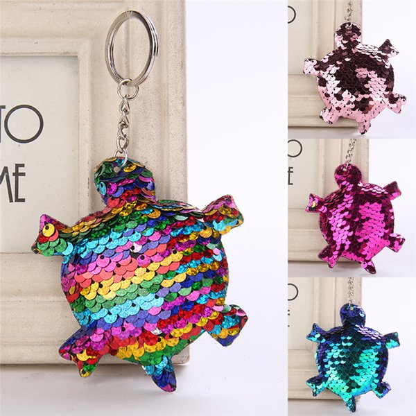 Cute Shiny Fashion Sequins Tortoise Keychain Glitter Pompom Key Ring Gifts For Women Charms Key Chain Car Bag Pendant Jewelry