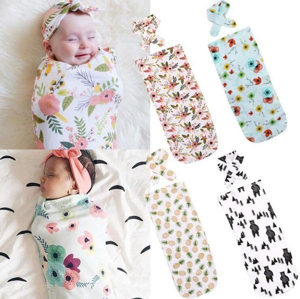 INS baby sleeping bag + headband 2 Piece Set cartoon design infant swaddles 100% cotton baby sleeping bags