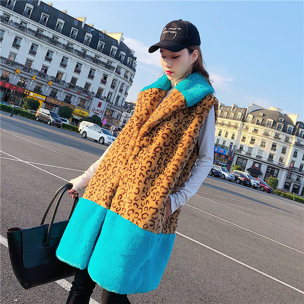 2018 new leopard print Faux rabbit fur splice Sleeveless Vest long Faux Fur woman fashion winter loose Plush slim long