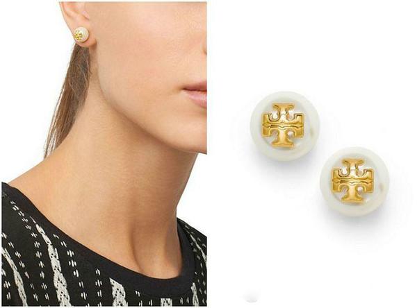 Verkauf Perlen Ohrstecker 18k Gold überzogene Ohrringe für Frauen Top-Qualität Schmuck rot / blau / schwarz / weiß / Amber österreichischen Kristall Ohrringe