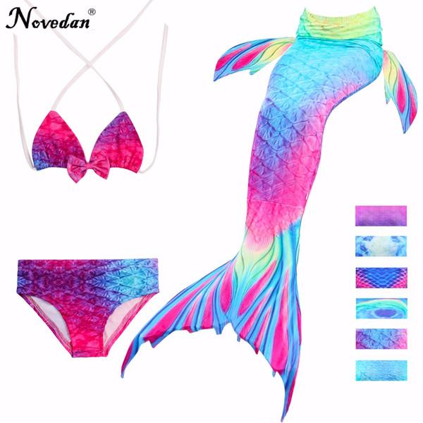 3Pcs/Set Children Mermaid Tail Swimsuit Kids Girls Swimwear Bathing Suit Cosplay Costume New 2018 Bikini Set Swimming Suits