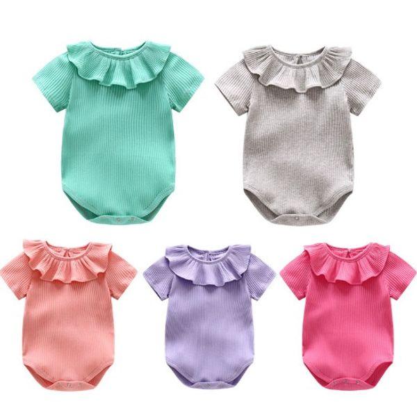 368291ddcfc Baby Kids Clothing Ins Kids Rompers Ruffle Sleeve Onesies Summer Lotus Leaf  Sleeve Romper Toddler Boutique Jumpsuit Fashion INS Romper J64