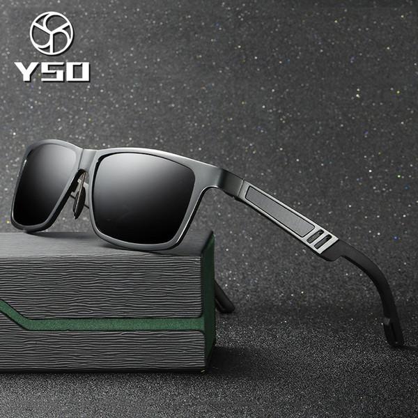 YSO Sunglasses Men Polarized UV400 Aluminium Magnesium Frame HD Lens Sun Glasses Driving Glasses Square Accessories For Men 6560