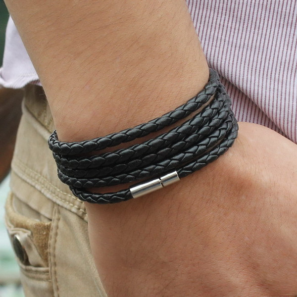 Latest Popular 5 Laps Leather Bracelet Men Charm Vintage Black Bracelet Jewelry Men Women Free Shipping 10pcs