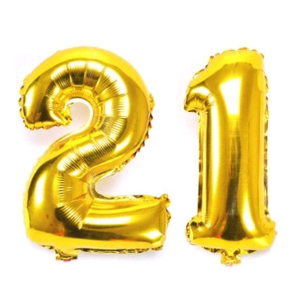 40 inch Jumbo Gold Number 21 Foil Helium Balloons for 21st Birthday Party Decoration