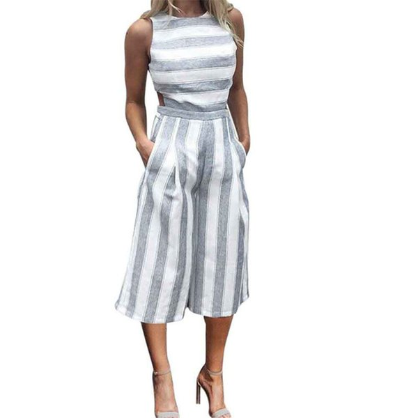 Women Striped Jumpsuits Casual Sleeveless Overalls Loose Summer Rompers Calf Length Wide Pants Exposes Waist Lady Trousers S-XL