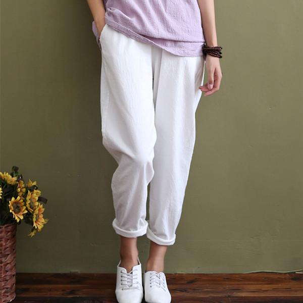 Solid Elastic waist Linen cotton White Women Pants Loose Casual Summer Harem Pants Women Brand Design Full length Trousers C044