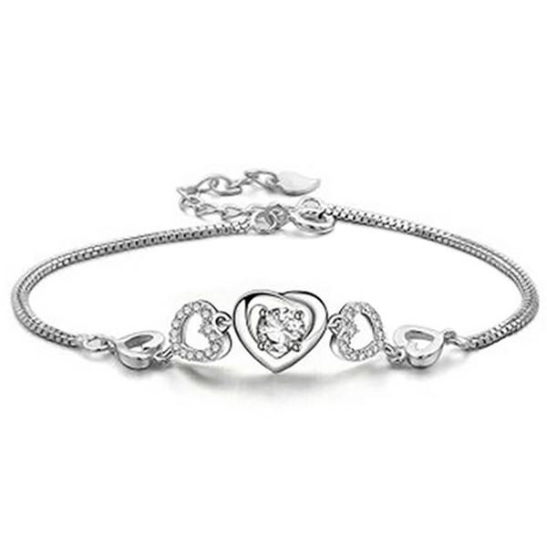 Women Love Heart Bracelet Rhinestone Inlaid Jewelry Adjustable Bangle Gift