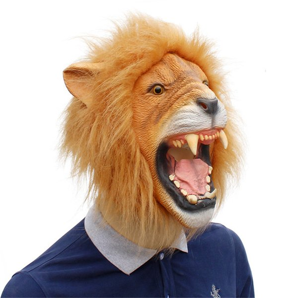Realistic Halloween Horror Scary Lion Mask Full Head Animal Masquerade Party Cosplay Mask Costume Props