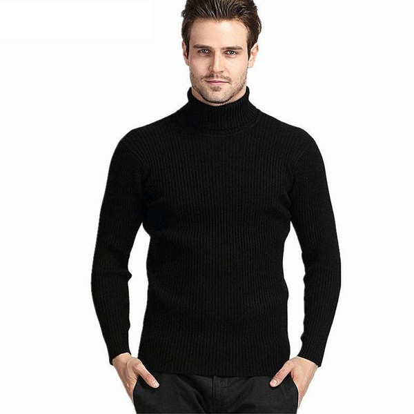 Winter Thick Warm Cashmere Sweater Men Turtleneck Mens Sweaters Slim Fit Pullover Men Classic Wool Knitwear Pull Homme