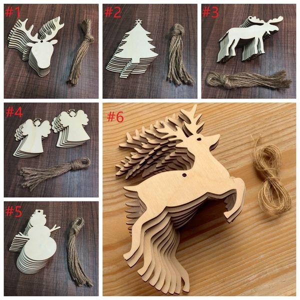 Hot Sale 10 pcs/Lot Christmas Tree Ornaments Wood Chip Snowman Tree Deer Socks Hanging Pendant Christmas Decoration Xmas Gift Crafts