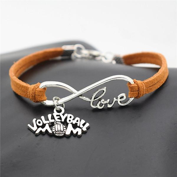 Corda de Camurça de couro Punk Marrom Pulseiras Cuff Ajustável para As Mulheres Homens Simples Infinito Amor Voleibol Mãe Jogo de Equipe de Esportes de Jóias Por Atacado