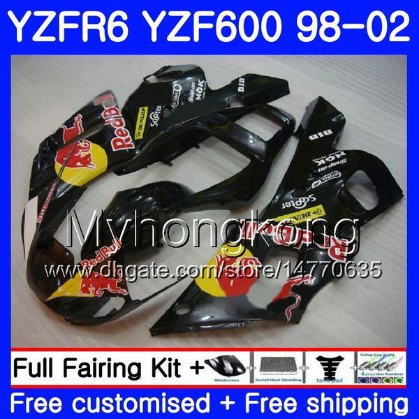Cuerpo para YAMAHA YZF R6 98 YZF600 YZFR6 98 99 00 01 02 Amarillo rojo 230HM.19 YZF 600 negro YZF-R600 YZF-R6 1998 1999 2000 2001 2002 Carenados