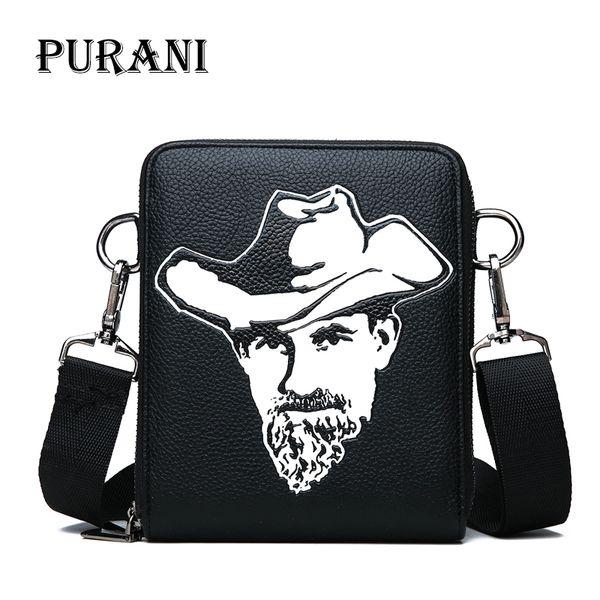 PURANI Fashion Men Bags Leather Male Bag Double Zipper Men Messenger Bags Promotional Small Crossbody Shoulder Bag Man Handbag