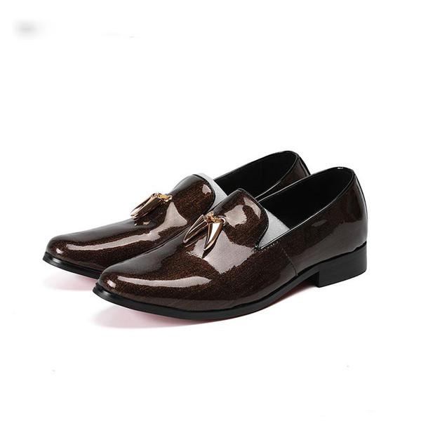 Scarpe da uomo in vera pelle Designer di lusso Slip On scarpe da uomo in mocassino Marrone Scarpe da uomo di marca italiana Oxfords Mocassini, Big Size US6-12