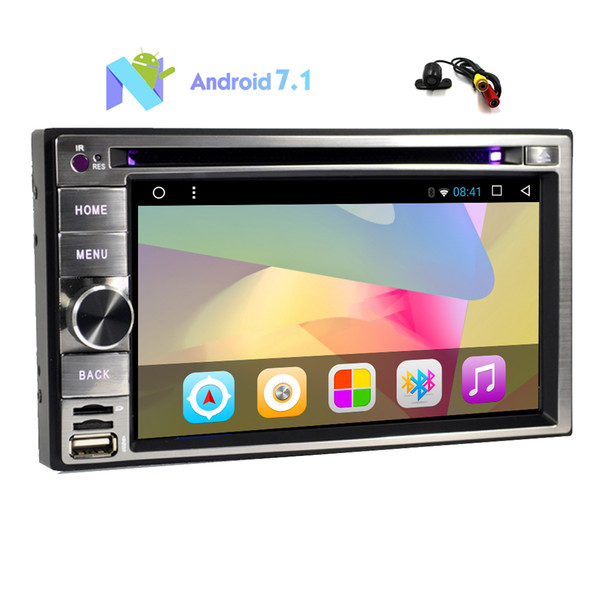 Backup Camera+Android 7.1 Octa-Core 2G RAM Car Stereo Double Din 6.2'' Capacitive Touch Screen Car DVD Player In Dash GPS Navigation