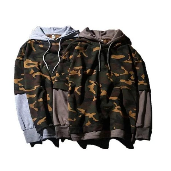 Spring Man Oversize Sport Wear camouflage False two-piece Cotton Hoodies Student Loose Casual Fashion Print Sweatshirt Gym Suit tops