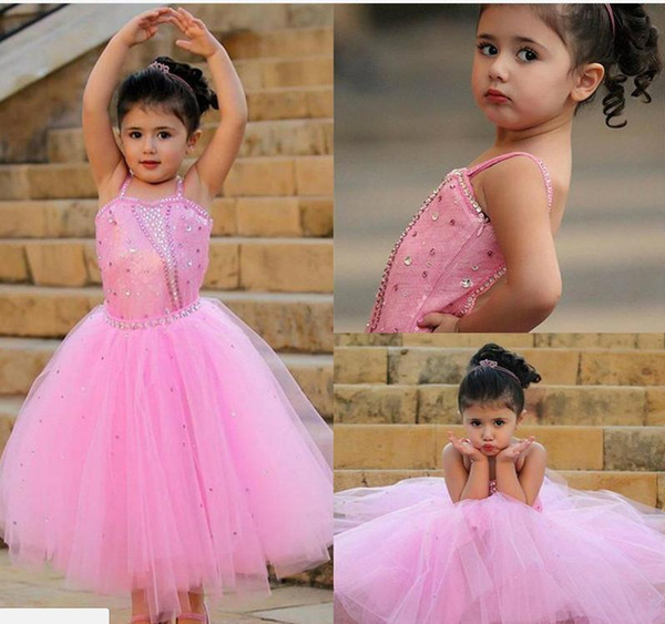 Cute Pink Flower Girl Dresses A Line Spaghetti Straps Shining Crystals Sequins Tulle Kids Toddler Birthday Communion Girls Pageant Dress