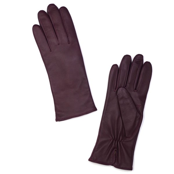 High Qulity Casual Womens Luxury Italian Nappa Leather Gloves Vintage Finished 100% Cashmere Lined Winter Burgundy