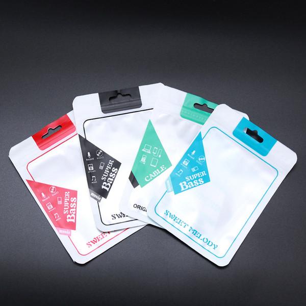 Самоуплотняющаяся сумка для наушников Цвет Жемчужная пластиковая OPP Полиэтиленовые пакеты ПВХ Телефонная линия передачи данных USB-кабель Упаковка Упаковочная коробка для iPhone Samsung