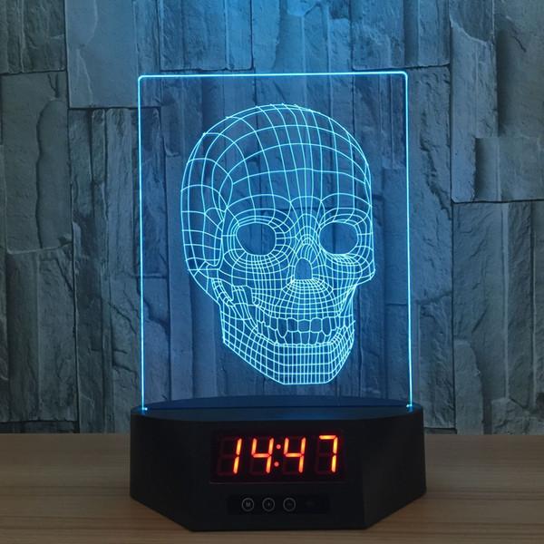 Skull 3D Illusion Night Lights LED 7 Color Change Desk Lamp Clock Function #T56