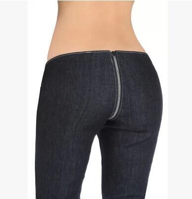 Hipster Sexy Crotch Zipper Pants Women Designer Jeans Low Waist Skinny Denim Pencil Pants Hot Trousers Casual