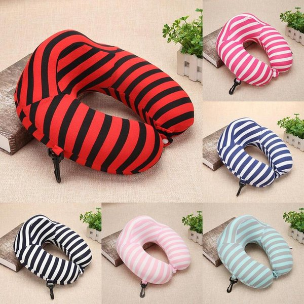 Fashion Striped U-shape Neck Pillows For Travel Rest Slow Rebound Memory Anti-Apnea Nap Pillow Cushion Headrest For Travel