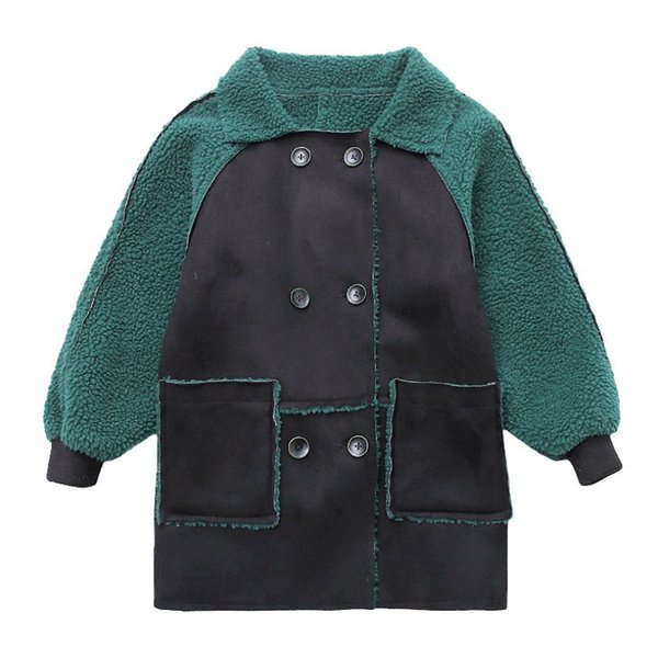 New Fashion Green Boys Winter Jacket Children's Faux Fur Coat Toddler Kids Add Wool Long Outerwear Coats Boys Clothes 10 12 Year