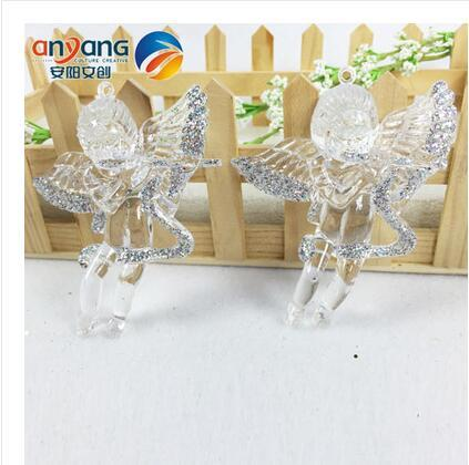 Christmas Ornaments Window Decorative Arrangement Snow and Ice Margin Effect 8.5CM Acrylic High Transparent Angel Strap