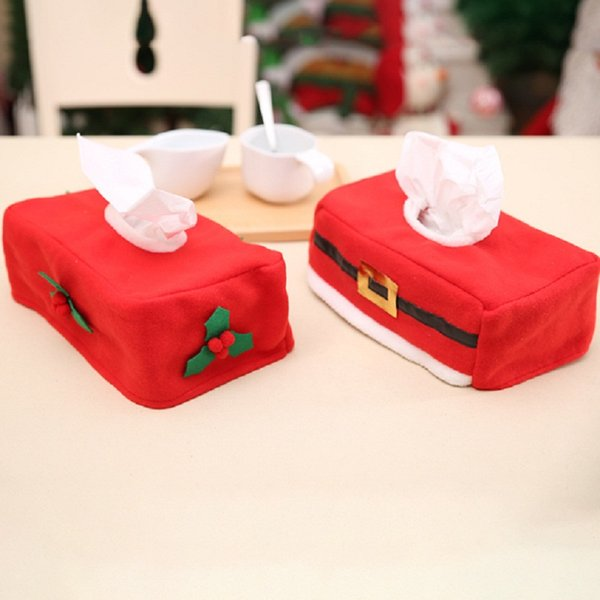 Size 25*15*10cm Christmas Belt/Clover Pattern Tissue Paper Box Storage Case Holder Desk Decoration