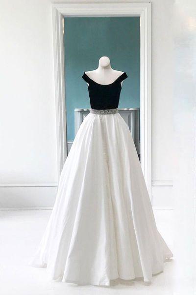 2019 с плеча женщин модные платья выпускного вечера A-Line черно-белые вечерние платья лето спинки на заказ Vestido де Fiesta горничной платье