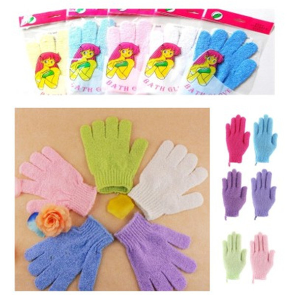 best selling Shower Bath Exfoliating Bath Shower Glove For Peeling Exfoliating Mitt Glove Five Fingers Scrubber Spong Bath Gloves G001