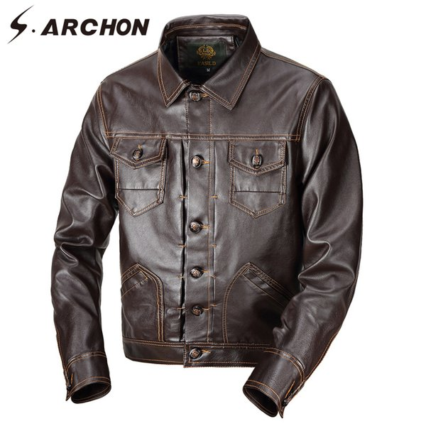 S.ARCHON Autumn New Leather Jackets Men Turn Down Collar Pockets Pilot PU Warm Jacket Outerwear Casual Man Coat Jacket Clothing