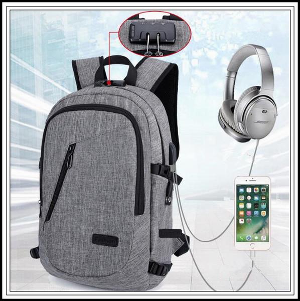 Laptop-Diebstahlschutzrucksack mit USB-Ladekopfhörerschnittstelle Schultasche Unisex-Diebstahlschutzschloss Laptop-Umhängetasche CCA9949 20St