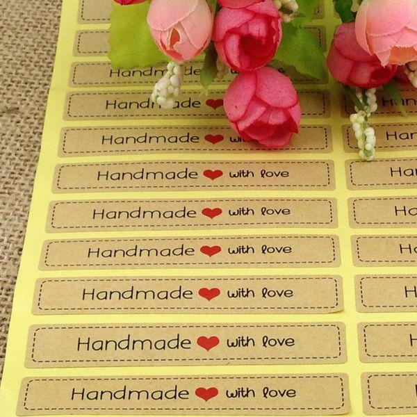 100pcs/lot 7.5x1.3cm Thank You love self-adhesive stickers kraft label sticker Hand Made Gift /Cake kraft sticker for gift box