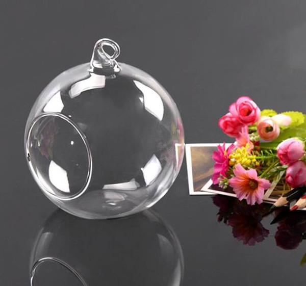 Colgante de vidrio redondo planta de aire terrarios bolas florero globo florero para decoraciones de la boda