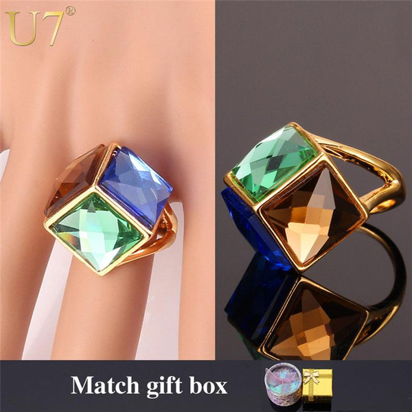 Wholesale- U7 Big Green Crystal Ring For Women Gold Color Party Jewelry Trendy Colorful Fancy Stone Statement Rings R352