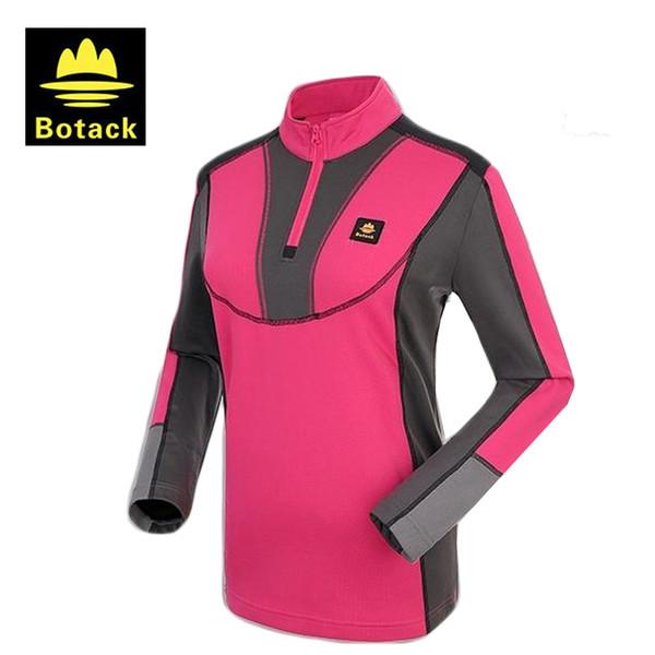 Botack 2017 Açık Hızlı Kuru Spor T-Shirt Kadın Yürüyüş Trekking Tees Nefes Tırmanma Kamp Gömlek, T002
