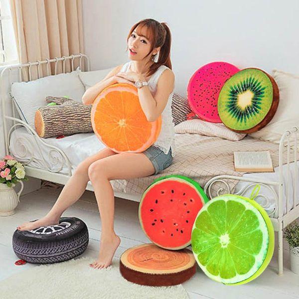 30 CM 3D Fruit Watermelon Orange Lime PP Cotton Office Chair Back Cushion Sofa Throw Pillow Trending Fashion New Year Decoration