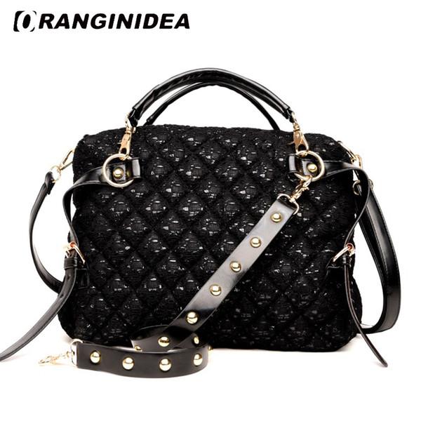 Mulheres Bolsas Lozenge Lantejoulas Top-handle Tote Bag Moda Grande Capacidade Ombro Crossbody Bag Preto