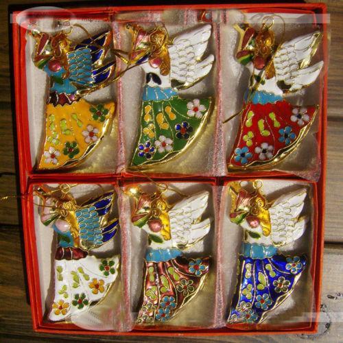 Großhandels6pcs klassische chinesische handgemachte Cloisonne-Engels-Verzierungen für Weihnachtsdekoration