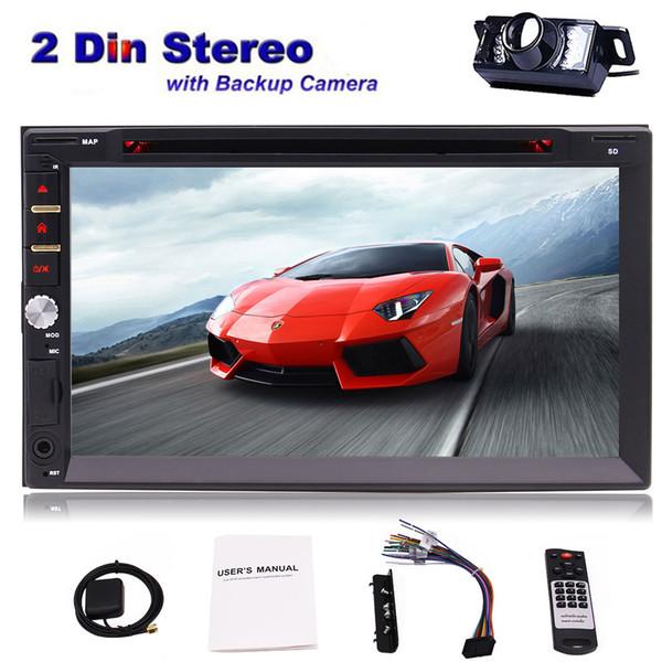 Free Car Rear View Camera + Eincar 7'' Double Din Touchscreen In Dash Car dvd Stereo Receiver GPS Navigation Audio Video Player Bluetooth FM