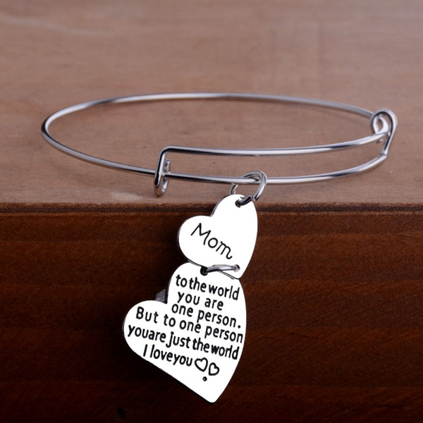 12 Pc/Lot Mom To The World You Are One Person But To One Person You Are Just The World I Love Charm Mother Bangle Bracelet