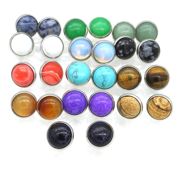 MKI 12 Colors Natural Stone Earrings 12mm Druzy Crystal Stud Stainless Steel Metal Ear Stud Jewelry for Women Men