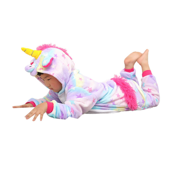 cute kids onesie pajamas cartoon unicorn cosplay hooded flannel pajamas for 3-10years children boys girls thick warm sleepwear clothing
