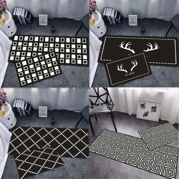 RAYUAN Nordic Style Black and White Kitchen Floor Mats Geometric Door Mat Long Carpets Anti-slip Doormat Rug Multi Size
