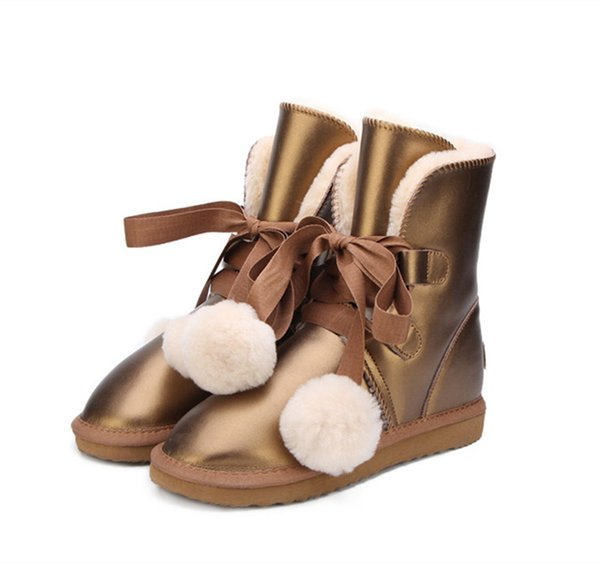 TISEPO UGS Australia Classic Women Snow Boots Genuine Cowhide Leather Boots  Fur Winter Warm Thick Women 5 Colours Men Boots Red Boots From Rowback,