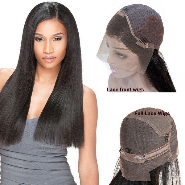 Cheap Brazilian Virgin Hair Straight Lace Front Wigs Unprocessed 360 Full Lace Human Hair Wigs Free Shipping Remy Human Hair Wigs For Man
