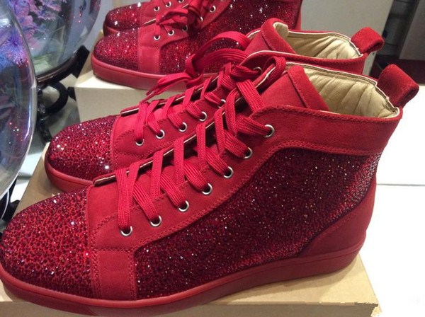 2019 New Designer Red Bottoms Casual Shoes Mens Women High Top Suede Spike Crystal Leather Sport Sneakers BOX DUST BAG 36-46