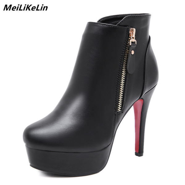 rowback / MeiLiKeLin Black High Heel Ankel Boots Women Platform Thin Heel Booties Female Party Wedding Boots Red Thick Bottom Shoes Pumps
